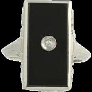 Art Deco Onyx & Diamond Ring - 14k White Gold Vintage Filigree Cocktail Women's