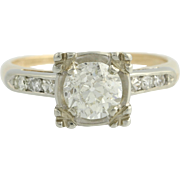 Art Deco Engagement Diamond Ring - Vintage 14k Yellow & White Gold Round 1.50ctw
