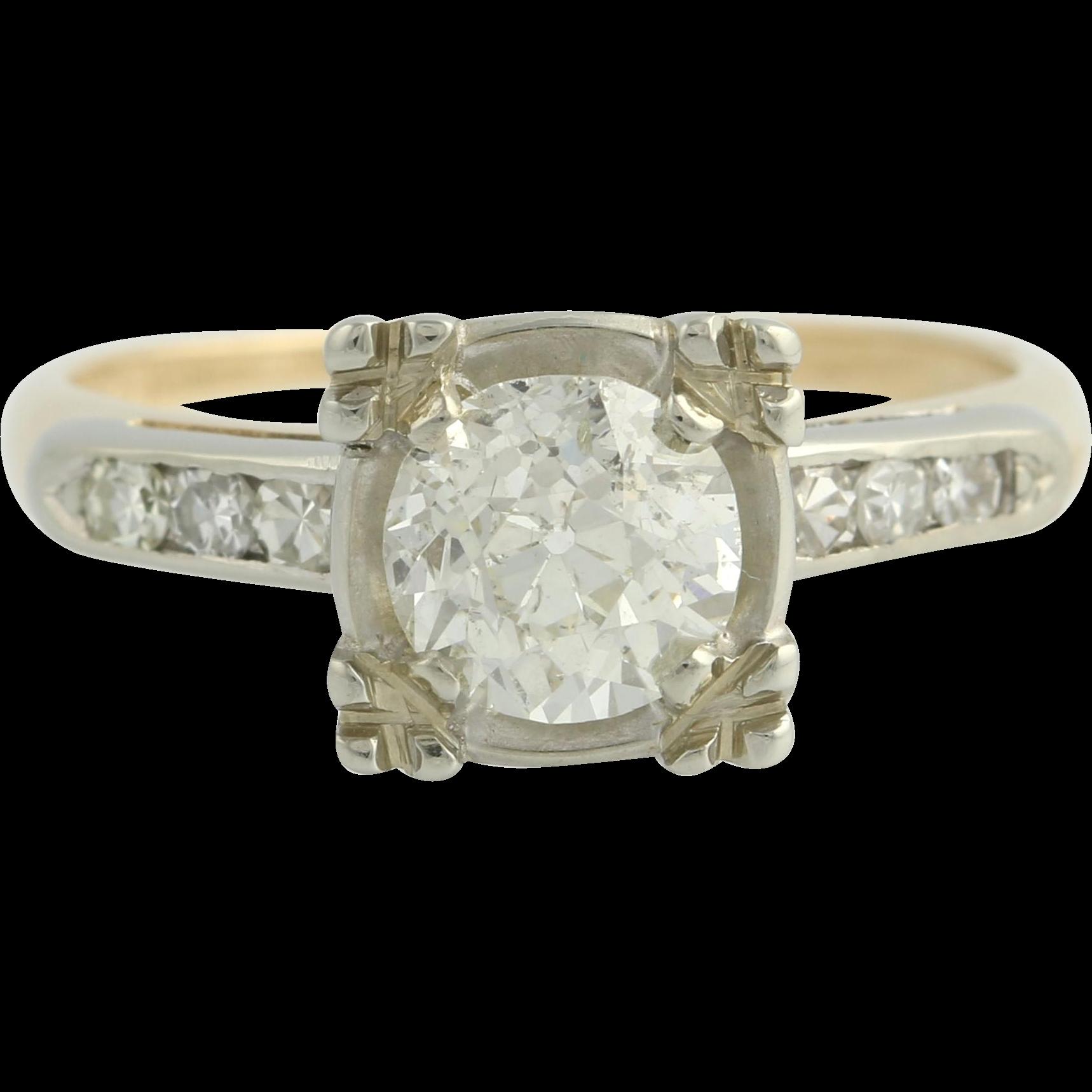 Art Deco Engagement Diamond Ring - Vintage 14k Yellow & White Gold Round 1.50ctw