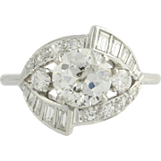 Retro Diamond Cocktail Ring - 14k White Gold Vintage Estate Natural 1.64ctw