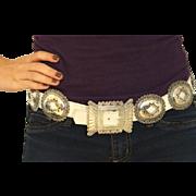 Vintage Navajo Concho Belt - Sterling Silver Native American Southwestern