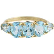 Blue Topaz Cocktail Ring - 10k Yellow Gold Women's Tiered Five Stone 4.30ctw