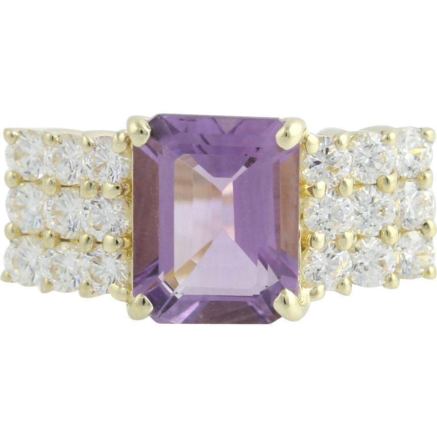 Amethyst & Cubic Zirconia Cocktail Ring - 14k Yellow Gold Size 8 Fashion CZ
