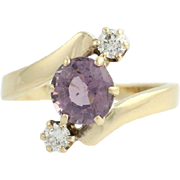 Purple Spinel & Diamond Bypass Cocktail Ring - 14k Yellow Gold Round 2.16ctw