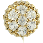 Victorian Glass Stone Brooch - 18k Yellow Gold Women's Estate High Karat