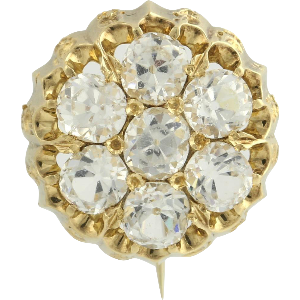 Victorian Glass Stone Brooch - 18k Yellow Gold Women's Estate High Karat