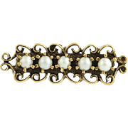 Vintage Cultured Pearl Convertible Brooch / Pendant - 14k Yellow Gold Fine June