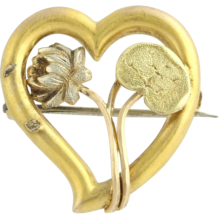 Art Nouveau Heart Brooch - 14k Yellow Gold Love Floral Circa 1910s - 1920s