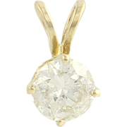 Diamond Solitaire Pendant - 14k Yellow Gold Round Natural Women's .55ct