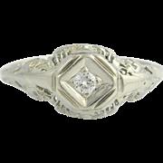 Art Deco Engagement Ring Diamond - 18k & 14k White Gold Solitaire Filigree .05ct Unique Engagement Ring