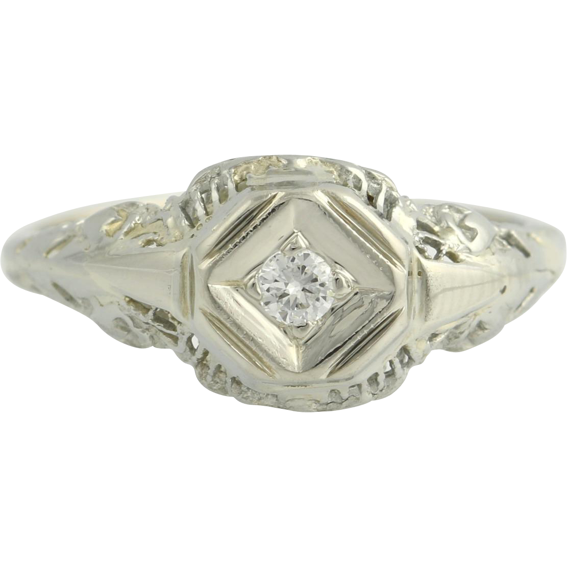 Art Deco Engagement Ring Diamond - 18k & 14k White Gold Solitaire Filigree .05ct Unique Engagement Ring