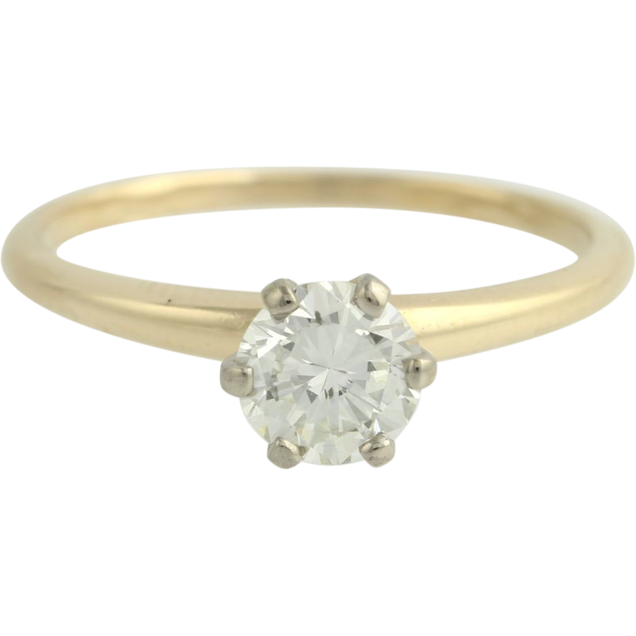 Diamond Engagement Vintage Ring - 14k Yellow & White Gold Round .84ctw