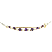 Vintage Amethyst and Cultured Pearl Brooch - 14k Yellow & White Gold Fine .70ctw