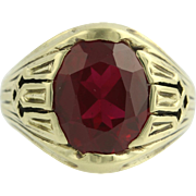 Art Deco Vintage Cocktail Ring - 14k Yellow Gold Syn Red Spinel Signet Style