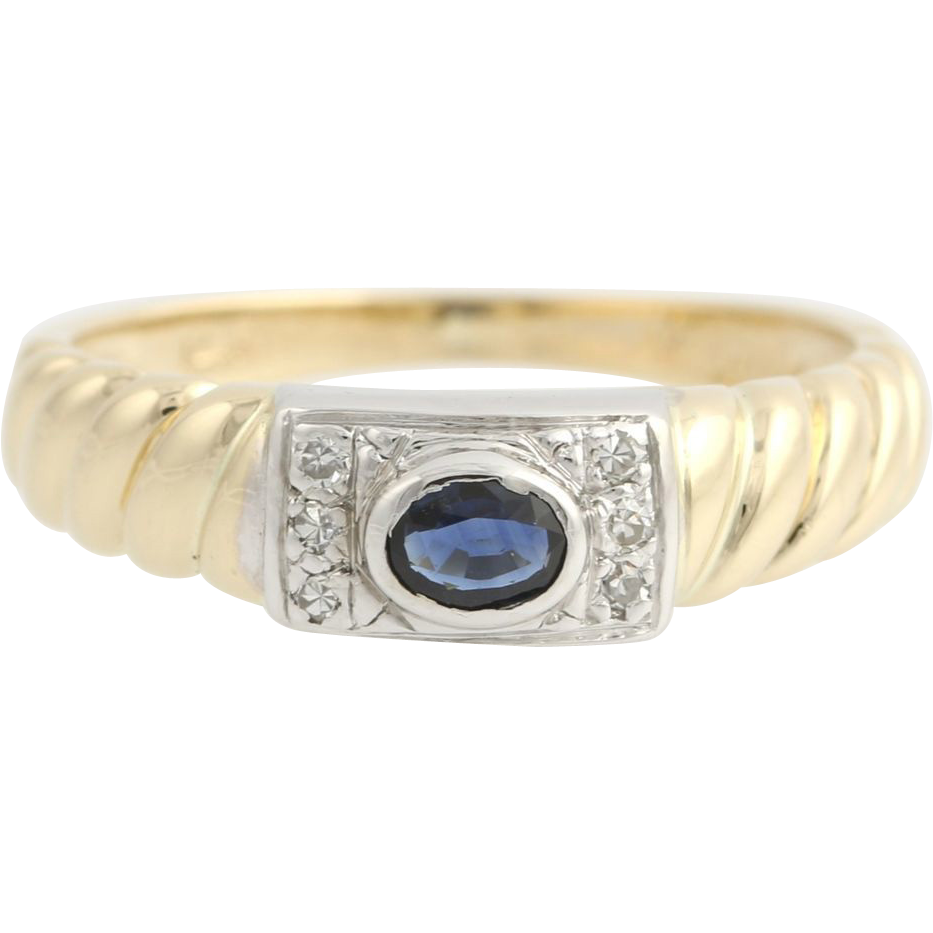Sapphire & Diamond Ring - 14k Yellow Gold September Birthstone Genuine .16ctw