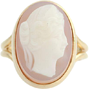 Cameo Carved Cocktail Ring - 14k Yellow Gold Band Women's Fine Estate Size 4
