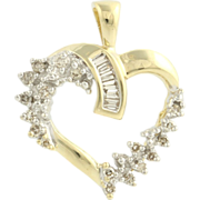 Diamond Heart Pendant - 14k Yellow & White Gold Love Baguettes Genuine .20ctw