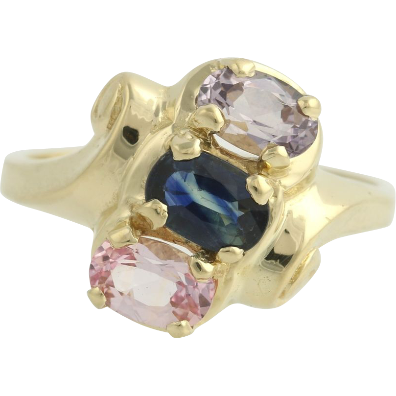 Blue & Pink Sapphire Cocktail Bypass Ring - 14k Yellow Gold Genuine 1.80ctw