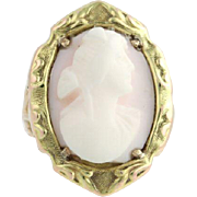 Vintage Carved Cameo Cocktail Ring - 10k Yellow Gold Women's Genuine Shell