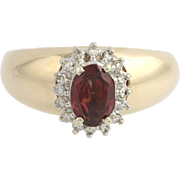 Garnet & Diamond Halo Cocktail Ring - 14k Yellow Gold Thick Band Women's Estate