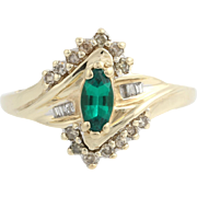 Synthetic Emerald & Diamond Cocktail Ring - 10k Yellow & White Gold Fine .70ctw