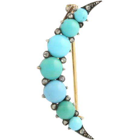 Georgian Turquoise & Diamond Crescent Brooch - 18k Yellow Gold & Sterling Silver