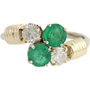 Emerald & Diamond Bypass Ring- 14k Yellow White Gold Cocktail Birthstone 1.68ctw