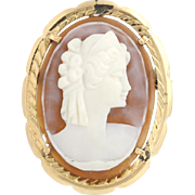 Carved Shell Cameo Brooch - 18k (750) Yellow Gold Bail Women's Fine Estate Lady