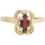 Garnet Solitaire Ring -14k Yellow Gold January Women's Size 6 1/4 Genuine .60ctw