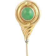 Art Nouveau Jade Stickpin Vintage - 14k Yellow Gold High Quality Jadeite Round