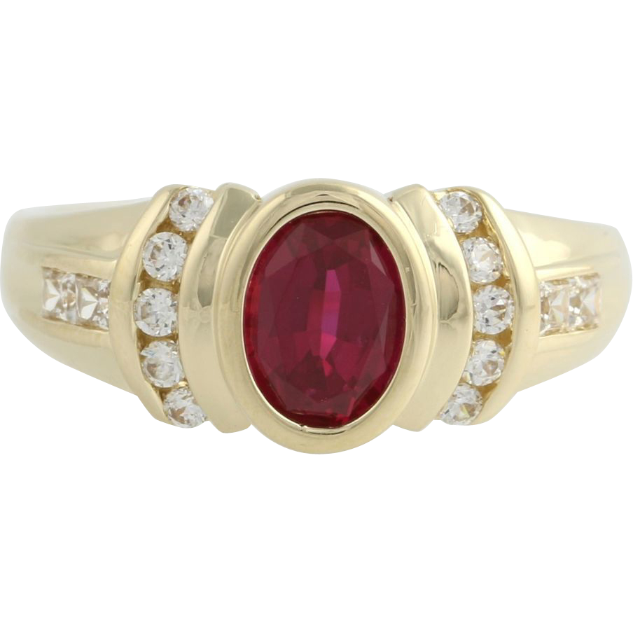 Synthetic Ruby & Cubic Zirconia Cocktail Ring - 14k Yellow Gold Size 9 1/4 CZ