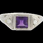 Art Deco Style Amethyst & Diamond Ring- 18k White Gold High Karat Genuine .64ctw