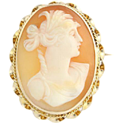 Vintage Carved Shell Cameo - 10k Yellow Gold Polished Fine Estate Peach Pin