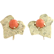 Coral Leaf Earrings - 14k Yellow Gold Screw Back Non Pierced Fastenings Women's