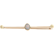 "Edwardian Opal Brooch - 9k Yellow Gold Women's Fine Estate Pin Long 2"" Thin"