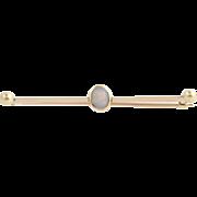 "Edwardian Opal Brooch - 9k Yellow Gold Women's Fine Estate Pin Long 2"" Thin"