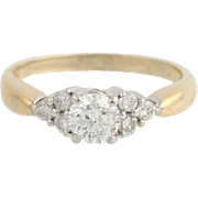 Diamond Engagement Ring - 14k Yellow & White Gold Natural 3 Stone Style 1.02ctw