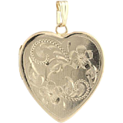 Floral Heart Locket - 14k Yellow Gold Women's Fine Estate Opens Love Dangle Drop