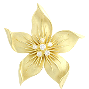 Floral Diamond Brooch - 18k Yellow Gold Polished High Karat Genuine .36ctw