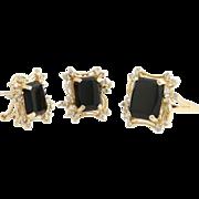 Onyx & Diamond Earrings & Ring Set - 14k Yellow Gold Pierced Genuine .78ctw