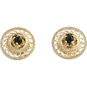 Onyx Stud Earrings - 14k Yellow Gold Open Cut Women's Fine Estate Pierced