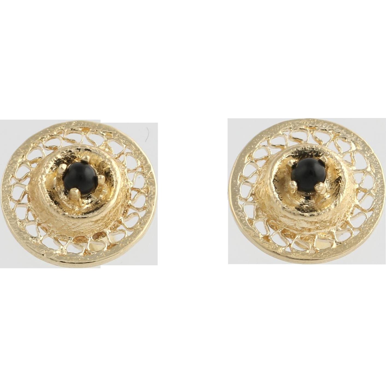 Onyx Stud Earrings - 14k Yellow Gold Open Cut Women's Fine Estate Pierced