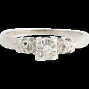 Vintage Diamond Engagement Ring - 14k White Gold Size 7 1/2 - 7 3/4 Fine .05ctw