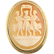 Carved Shell Cameo Pin - 14k Yellow Gold Vintage Women's Pendant Three Muses