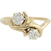 Vintage Diamond Ring Cocktail Engagement - 14k Yellow Gold Swirl Natural .73ctw