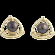 Freshwater Pearl Earrings - 14k Yellow Gold Pierced Butterfly Back Triangle Fine