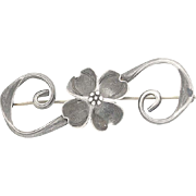 Vintage Dogwood Flower Brooch - Sterling Silver Stuart NYE Floral Pin