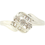 Diamond Bypass Ring - Sterling Silver 3-Stone w/ Accents Size 5.25 Women's