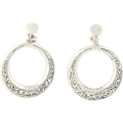 Vintage Hand Engraved Floral Earrings - Sterling Silver Dangle Hoop Screw Back