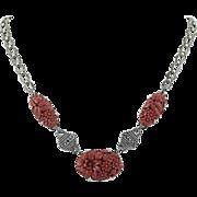 "Vintage Floral Necklace Sterling Silver Simulated Carved Coral Marcasites 15.5"""